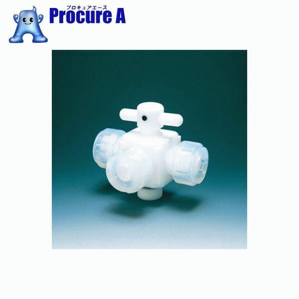 フロンケミカル フッ素樹脂(PTFE)三方バルブ接続8mm NR0030-002 ▼391-5425 (株)フロンケミカル