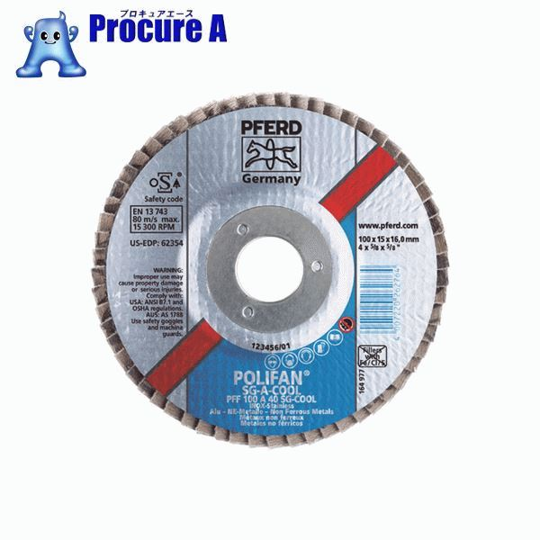 PFERD ポリファンフラップディスクSGA Φ100 #80 PFF100SGA941676 10枚▼451-9957 PFERD社