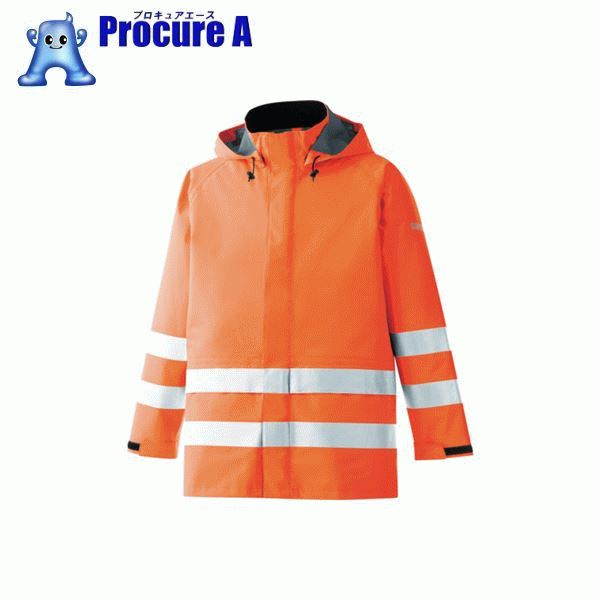 ミドリ安全 雨衣 レインベルデN 高視認仕様 上衣 蛍光オレンジ S RAINVERDE-N-UE-OR-S ▼835-7353 ミドリ安全(株)