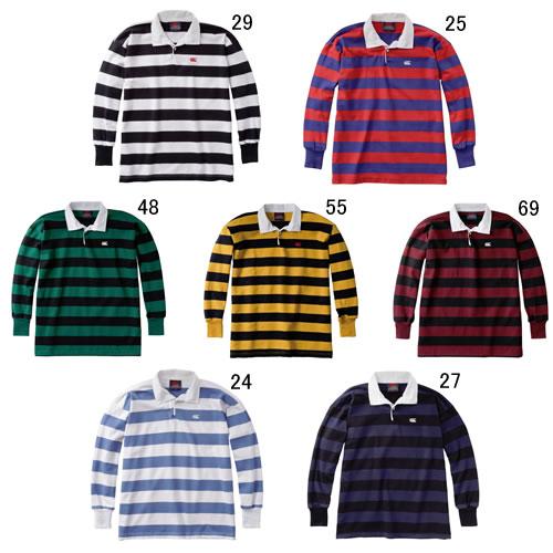 ラガーシャツ 長袖 メンズ カンタベリー canterbury NZ ストライプ ラグビージャージ 男性用 ラグビー タウンユース ポロシャツ 紳士服 RA98001 セール