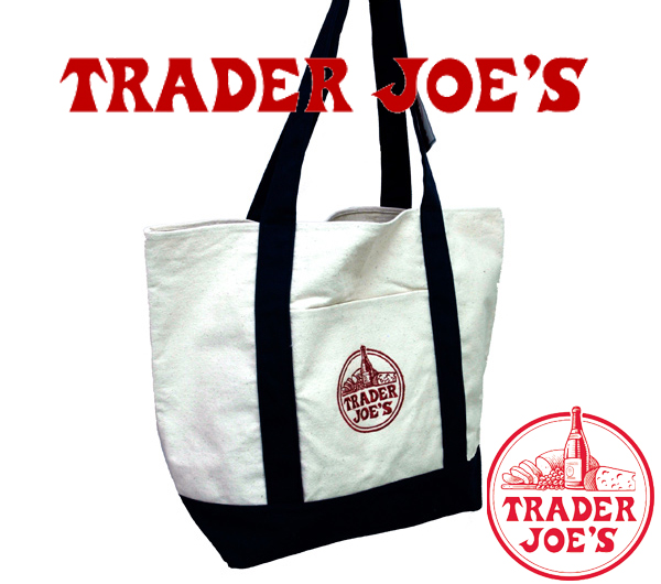 Mama bag at Trader Joe's eco bag USA supermarket original TRADER JOE's and Trader Joe's logo embroidered cotton canvas white tote bag