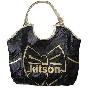 日本收购 !LA NY 有限 ! 最受欢迎 Kitson 亮片手提包 Kitson LA-黑森蝴蝶结亮片大手提包黑 / 金丝带珠片手提包
