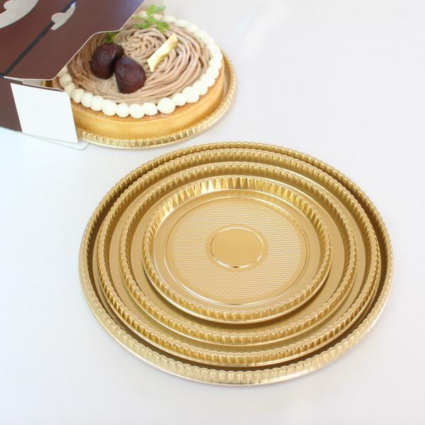 【ケーキ箱用トレー】XM 丸型金トレー 4号 5枚入 【rrr】