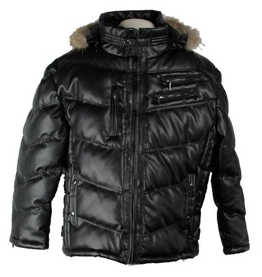 【3L・4L・5L・6L】大きいサイズのフェイクレザー中綿ジャケット【あす楽対応・送料無料・代引手数料無料・フェイクレザー・中綿・脱着可能ファー付フード】