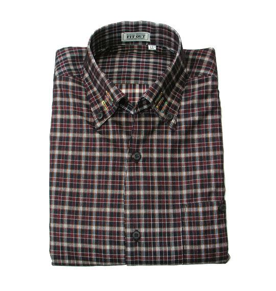 【4L】フロッキープリントカジュアルシャツ【大きいサイズ】【あす楽】【送料無料】【キングサイズ】【ビッグサイズ】【長袖・変形ボタンダウン・フロッキープリント・チェック】