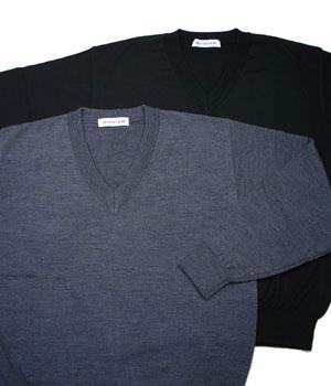 【3L】大きいサイズのセーター(送料無料・Vネック・ウール・日本製)