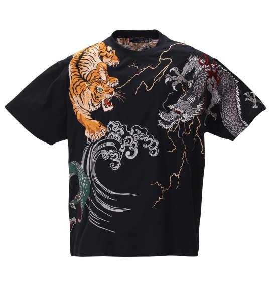 【 大きいサイズ 】四神刺繍半袖Tシャツ 絡繰魂 (ブラック)【 3L 4L 5L 6L 8L 】【 キング 】【 ビッグ 】【 ラージ 】【 送料無料 】