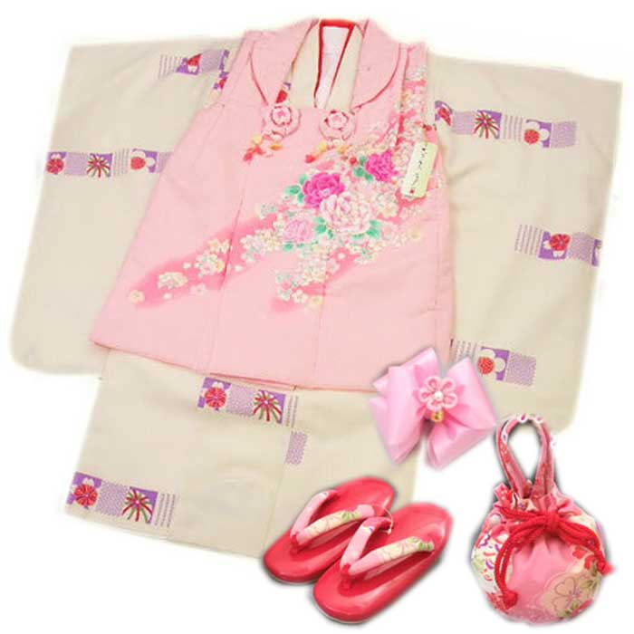 七五三 着物 衣装 三歳用 被布 セット ひさかたろまん ピンク地 ボタン 桜 被布 / オフ白地 手毬 桜 きもの 送料無料 七五三 三歳 3歳 女の子 被布コート ひふ