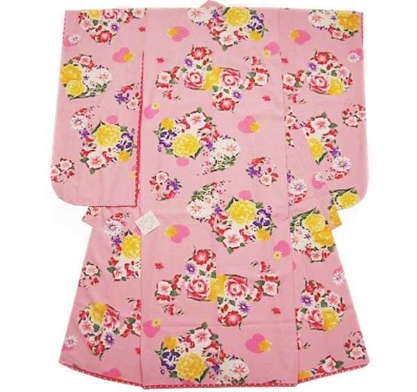 七五三 衣装 SEIKO MATSUDA 四つ身 きもの ピンク ハート 苺 七五三 七歳 7歳 女子 着物 四ツ身 松田聖子 イチゴ 送料無料