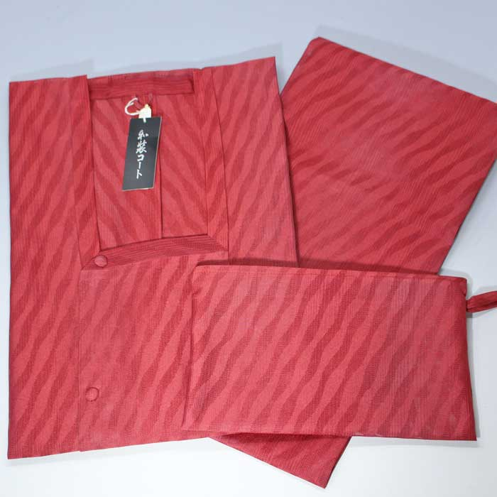 二部式 雨コート 収納ポーチ付き レンガ 道行コート 和装 レインコート 雨用 雨 雨用コート