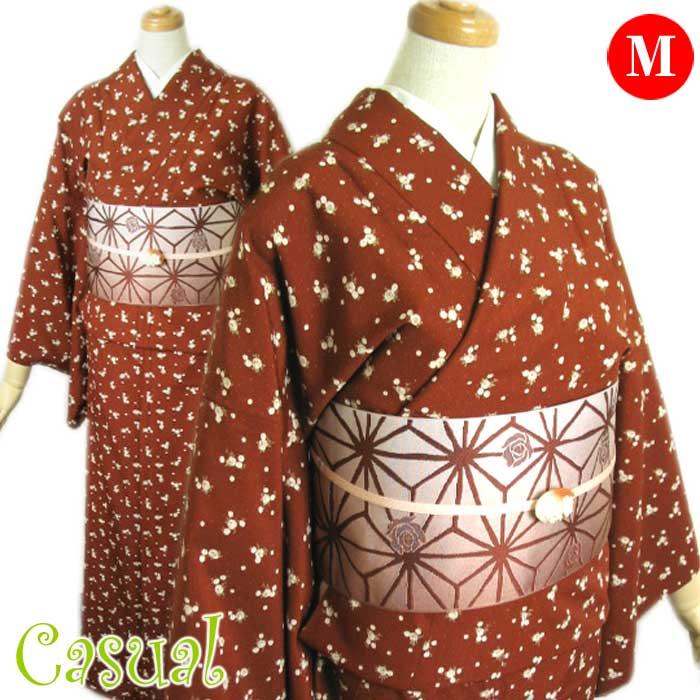 着物セット モダン カジュアル 4点セット M 海老茶 ミニバラ 単衣 着物 細帯 三分紐 帯留め セット