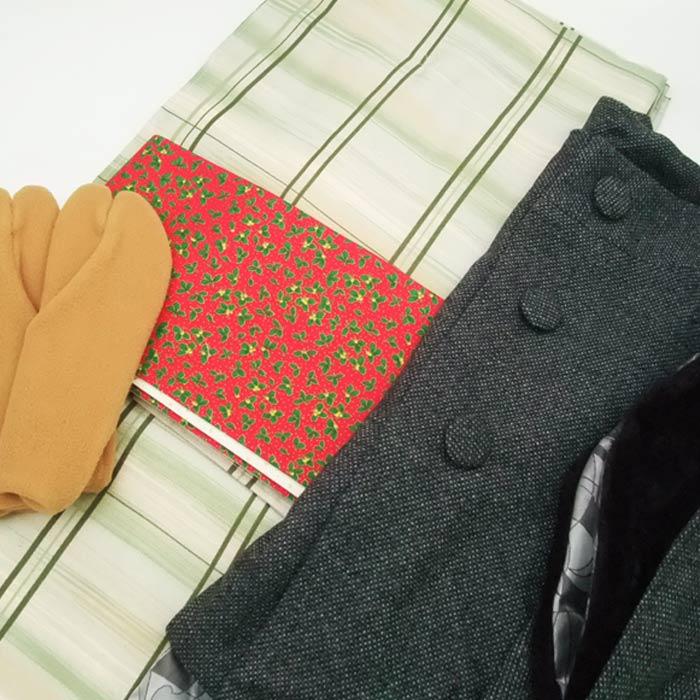 着物セット クリスマス 4点 セット L グリーン 格子 着物 オリジナル帯 袷 きもの 柊 星 細帯 フリース足袋 ポンチョ コート きものセット