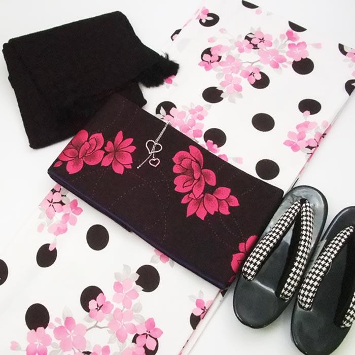 着物セット バレンタイン きもの 5点 セット M 水玉 花柄 着物 細帯 千鳥格子 草履 黒 ショール ハート 帯飾り セット きものセット
