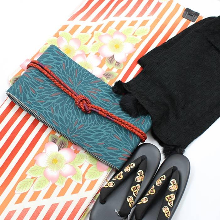 着物セット クリスマス 5点セット L 桜 縞柄 着物 袷 きもの キモノ 細帯 ショール 草履 帯締め