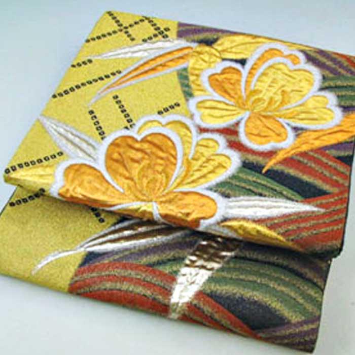 正絹 袋帯 ゴールドフラワー ふくろおび 帯 礼装 フォーマル用 絹 送料無料