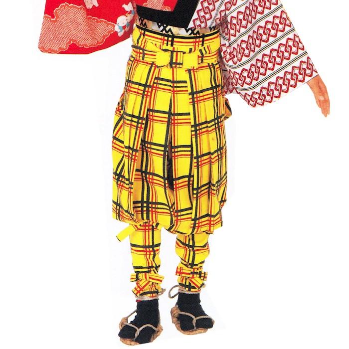 たっつけ袴 黄 親 子 (k巴72504) 送料無料 はかま ちゃんちゃんこ 帽子 玉すだれ 舞台 ステージ 衣装 日舞 日本舞踊 踊り 大道芸 時代劇 舞台 【お取り寄せ商品】