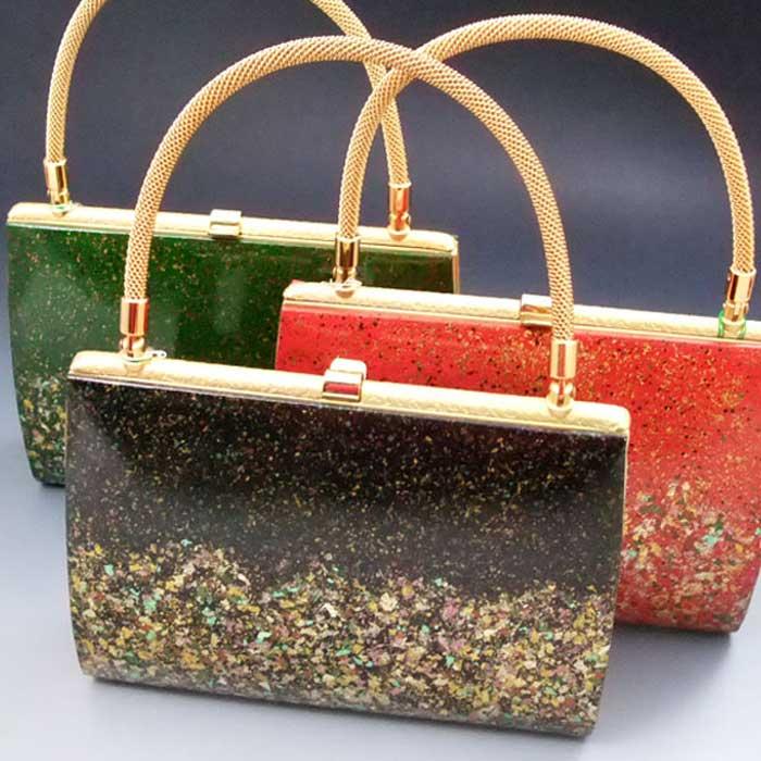 高級 本革 バッグ 箔散し 本皮 黒 緑 赤 礼装用 和装 カバン 鞄