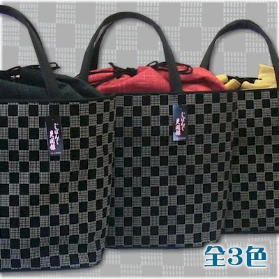 印傳風 バケツ型 バッグ 市松 いんでん 印伝 インデン 和装バッグ 鞄 かばん カバン 着物 【お取り寄せ商品】