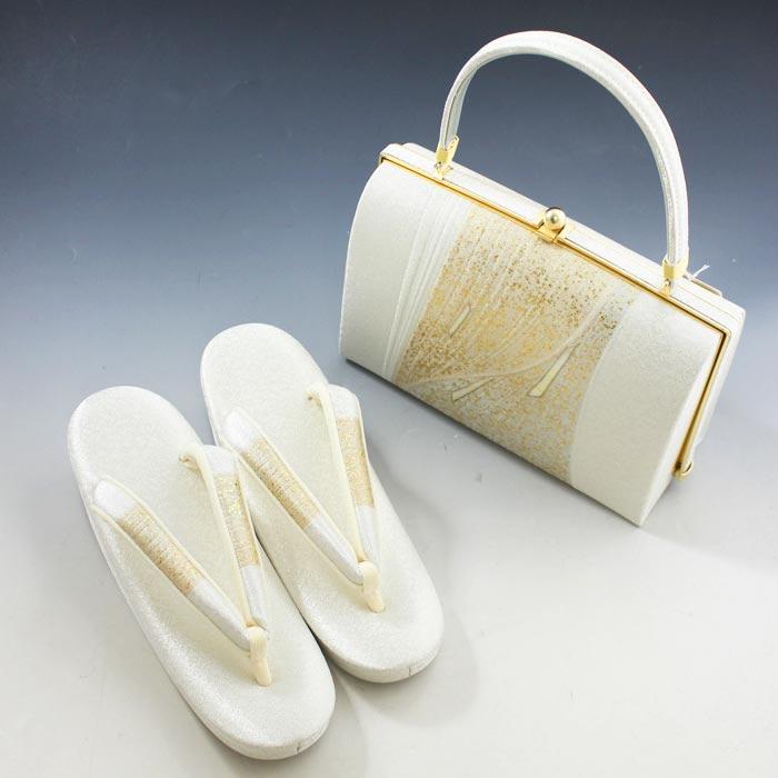礼装用 高級 草履 バッグ セット 白金地 金粉 撒き糊散らし 螺鈿 フォーマル 結婚式 留袖 着物 バッグ 送料無料