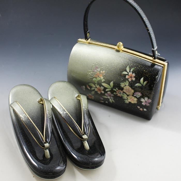 礼装用 高級 草履 バッグ セット 黒地 螺鈿 フォーマル 結婚式 訪問着 振袖 着物 草履バッグセット