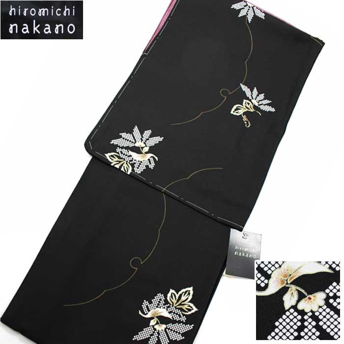 ナカノヒロミチ 小紋 袷 着物 hiromichi nakano 黒地に菊 ブランド きもの 洗える着物 洗える 仕立上がり 婦人 女物 プレタ