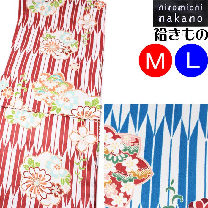 ナカノヒロミチ 袷着物 hiromichi nakano 白 赤 青 矢絣 花模様 きもの お仕立て上がり 洗える着物 プレタ M L