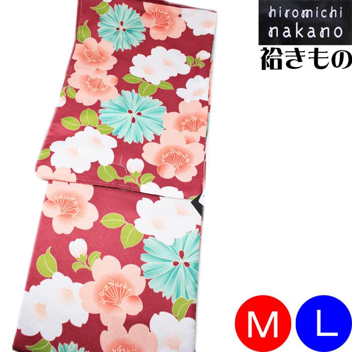 ナカノヒロミチ 袷着物 hiromichi nakano 赤地 菊 桜 花模様 きもの お仕立て上がり 洗える着物 プレタ M L