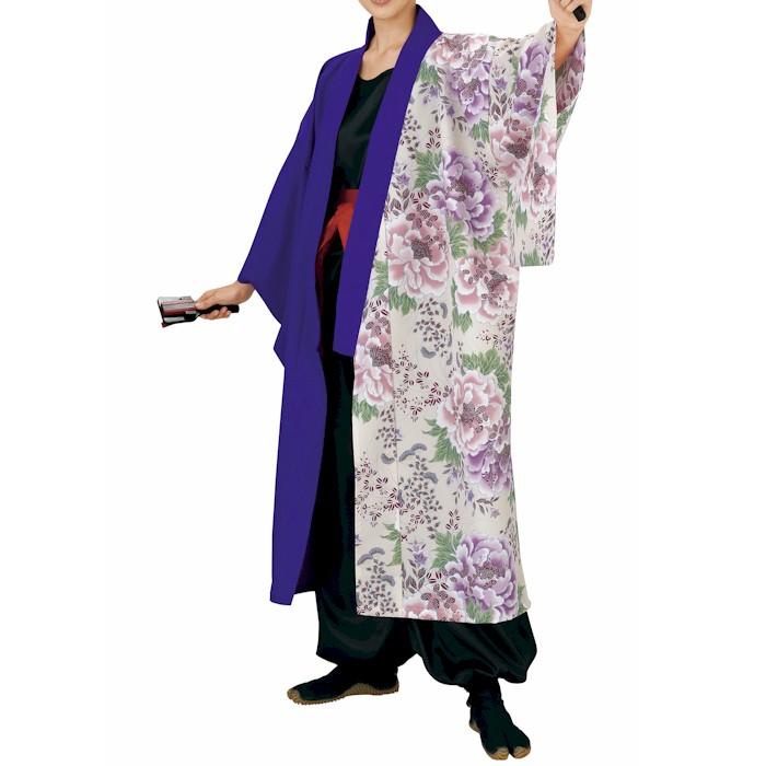 ポリエステル 長半纏 紫 白 牡丹 (o飯7907) 送料無料 よさこい 衣装 祭り 衣裳 イベント まつり 袢纏 半纏 袢天 はっぴ はんてん 【お取り寄せ商品】