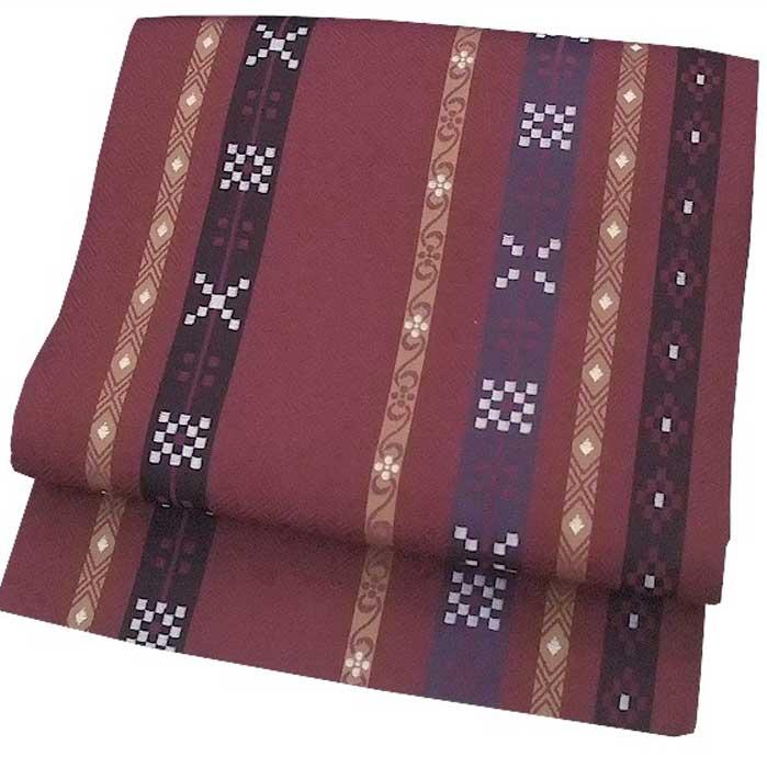 西陣織 正絹 名古屋帯 絣風 縞模様 ワイン 仕立上り プレタ 日本製 おび きもの 着物 なごや 名古屋 帯