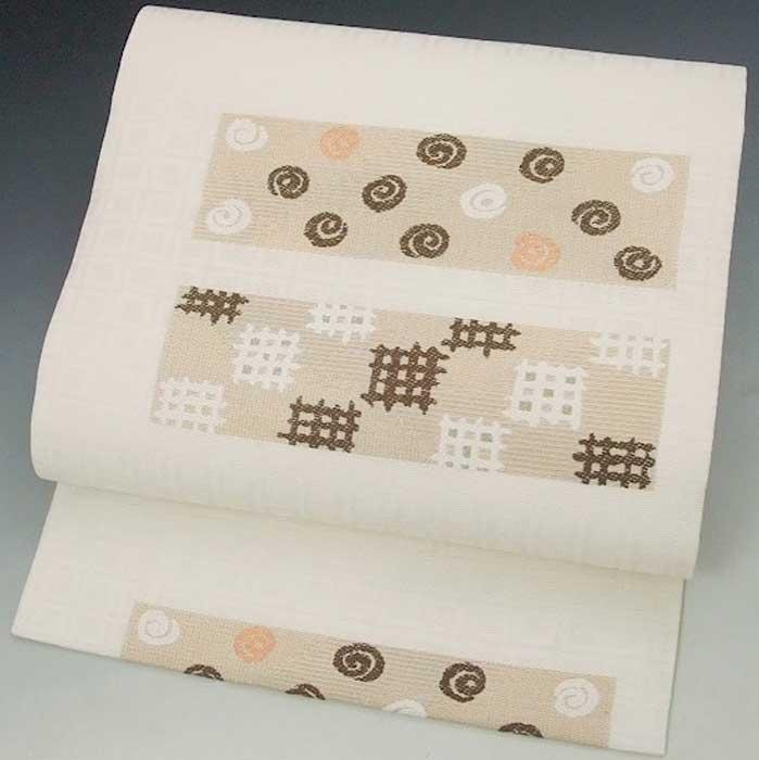 西陣織 正絹 名古屋帯 絣 渦巻 色紙柄 オフホワイト 仕立上り プレタ 日本製 おび きもの 着物 なごや 名古屋 帯