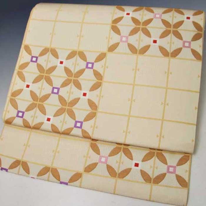 西陣織 正絹 名古屋帯 薄白黄色地 変わり七宝 仕立上り プレタ 日本製 おび きもの 着物 なごや 名古屋 帯