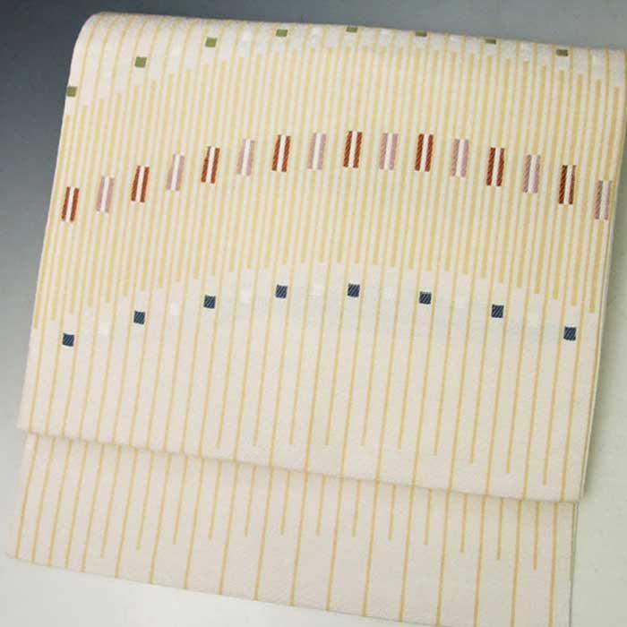 西陣織 正絹 名古屋帯 クリーム地 鍵盤風 縞 仕立上り プレタ 日本製 おび きもの 着物 なごや 名古屋 帯