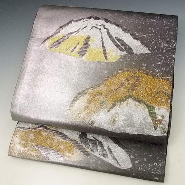 日本製 正絹 高級 袋帯 未仕立て シルバー暈し 遠山 ふくろおび 帯 着物 附下 訪問着 フォーマル用