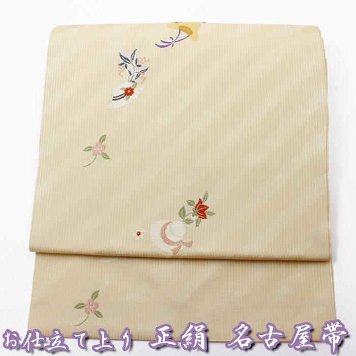 西陣織 正絹 名古屋帯 薄杏色地 花 帽子 六通柄 仕立上り プレタ 日本製 おび きもの 着物 なごや 名古屋 帯