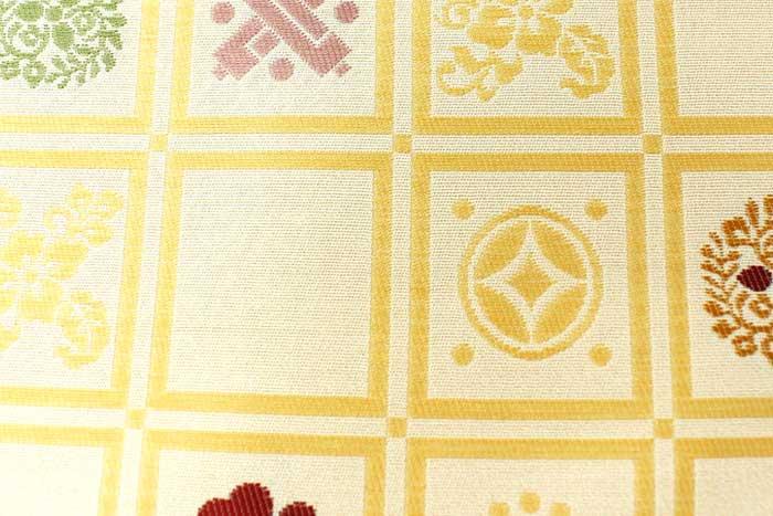 西陣織 正絹 名古屋帯 クリーム 花 宝尽くし 六通柄仕立上り プレタ 日本製 おび きもの 着物 なごや 名古屋 帯uXwPZTkiO