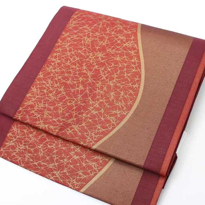 西陣織 正絹 名古屋帯 臙脂 曲線 六通柄 仕立上り プレタ 日本製 おび きもの 着物 なごや 名古屋 帯