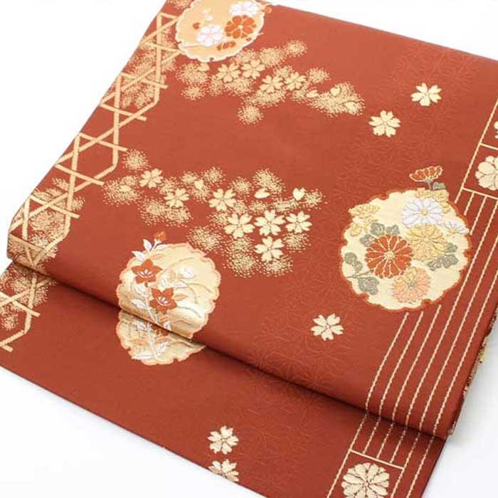【送料無料】 西陣織 正絹 名古屋帯≪煉瓦地に雪輪花文≫六通柄お仕立上り おび きもの 着物