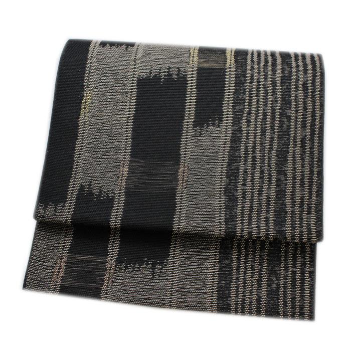 日本製 夏帯 八寸 名古屋帯 黒地 ピンクベージュ 縞系 夏 帯 仕立て上がり 夏用