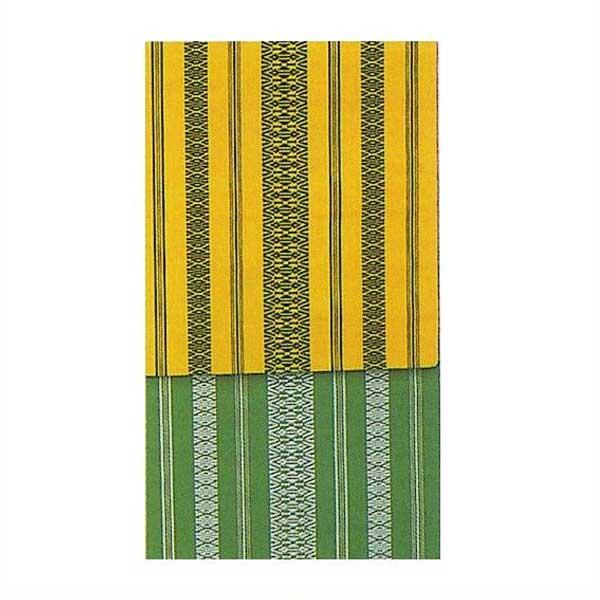 八寸 献上 腹合帯 踊り帯 (f27-856) 黄 緑 舞台 衣装 日舞 日本舞踊 腹合せ 帯 【お取り寄せ商品】