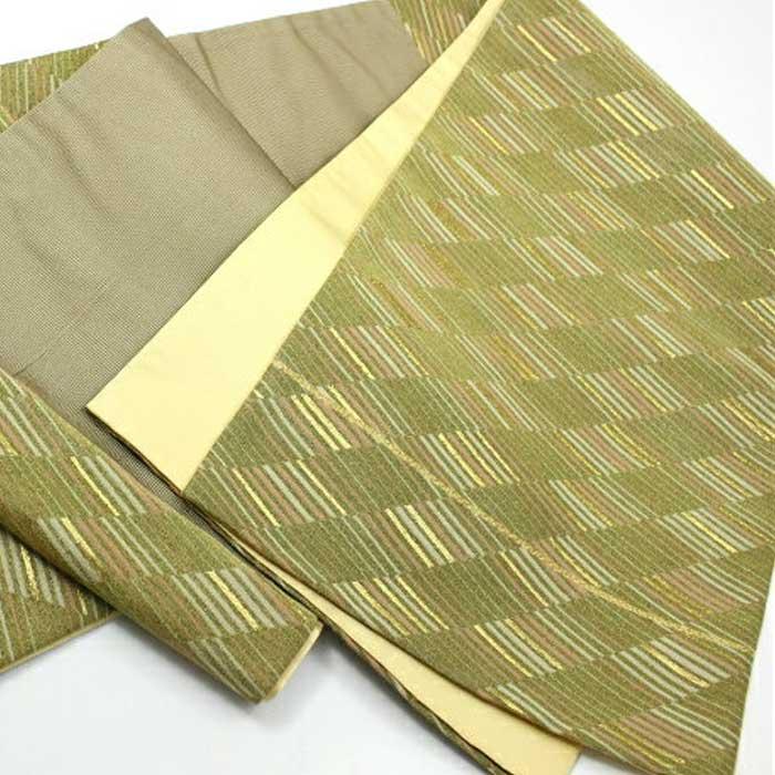 アウトレット 正絹 袋帯 斜め変わり縞 未仕立て 六通 訳あり 蔵出し 大特価 ランクB 高級袋帯 礼装 着物 きもの 帯