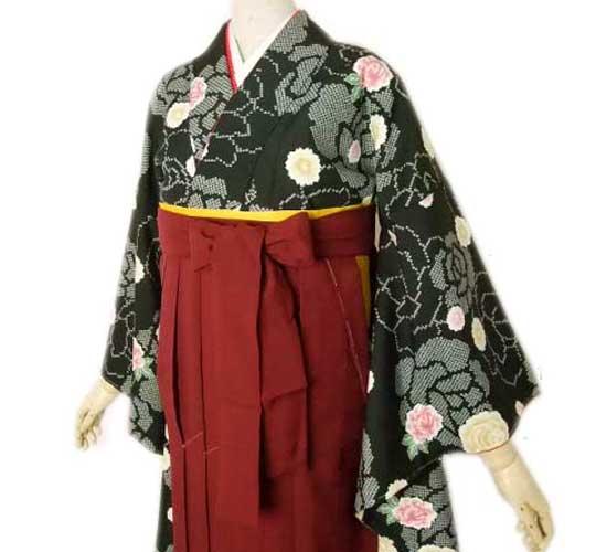 卒業式 二尺袖 着物 袴 7点 セット L バラ 薔薇柄 足袋 草履 プレゼント 送料無料