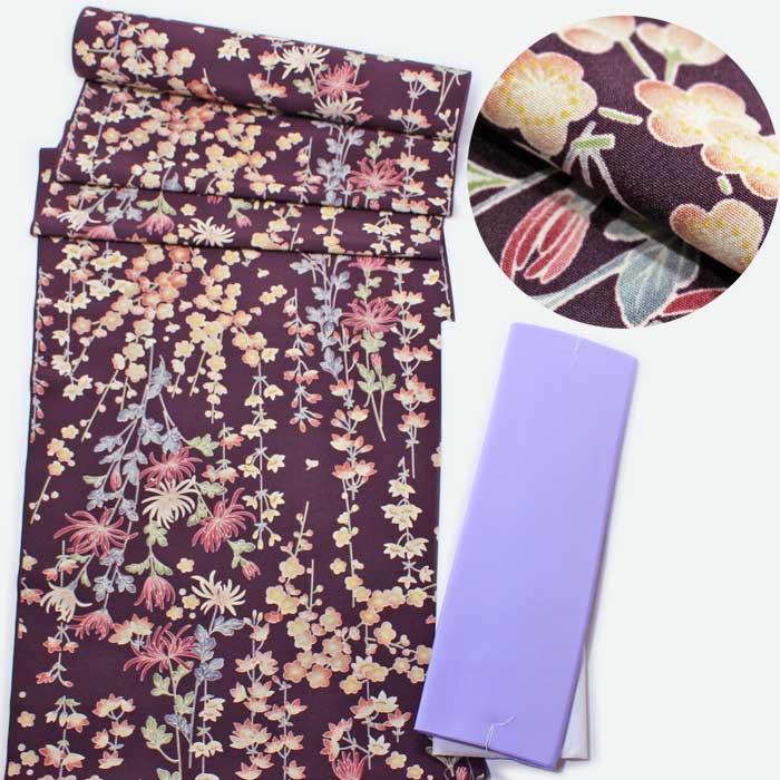 小紋 反物 紫 菊 梅 桜 四季の花 洗える 着物 きもの 着尺 胴裏 八掛 セット