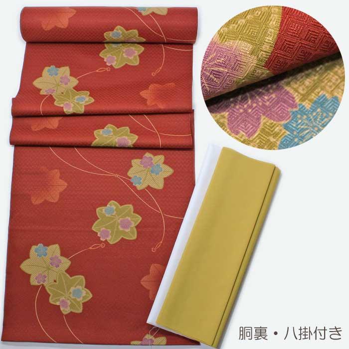 小紋 反物 エンジ色 桜 紅葉 洗える 着物 きもの 着尺 胴裏 八掛 セット