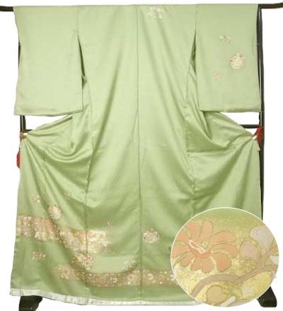 仮絵羽 訪問着 浅緑 刺繍着物 蔵出し 特価 きもの ほうもんぎ 礼装 送料無料