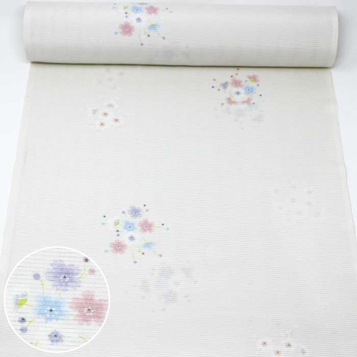 東レシルック 反物 絽 白 桜 花 夏物 薄物 夏 小紋 東レ シルック 洗える着物 きもの 送料無料