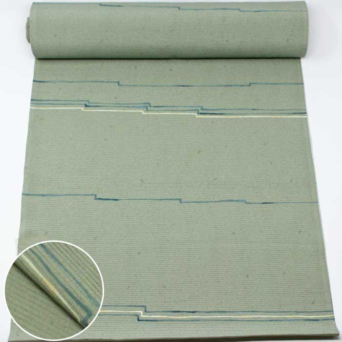 洗える 小紋 着尺 緑 幾何学 縞 絽ちりめん 絽 縮緬 夏物 薄物 洗える着物 着物 きもの 反物 たんもの 和裁 和装 布 生地