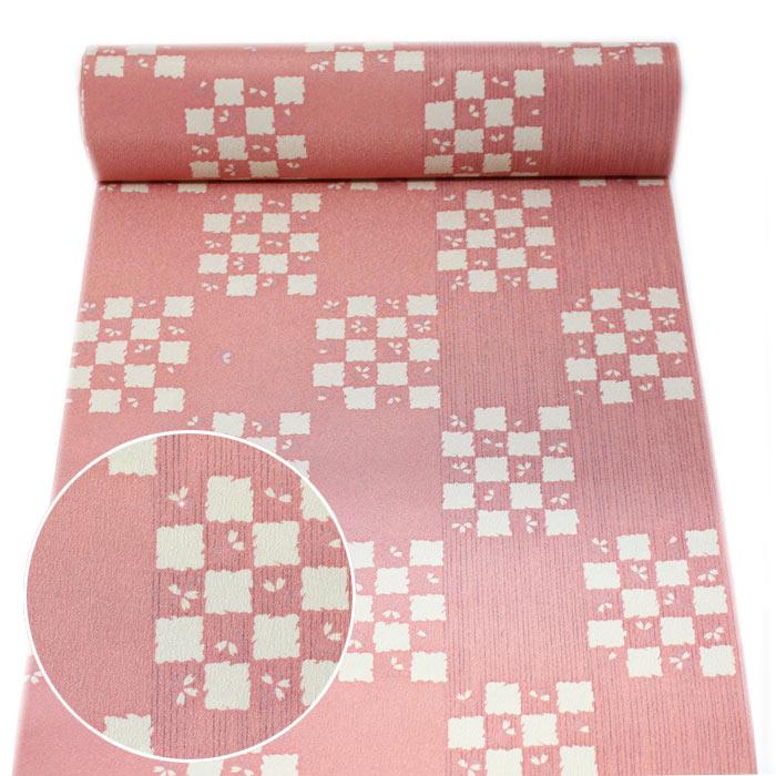 東レ シルック 反物 東レシルック 洗える着物 着物 未仕立て 小紋 ピンク