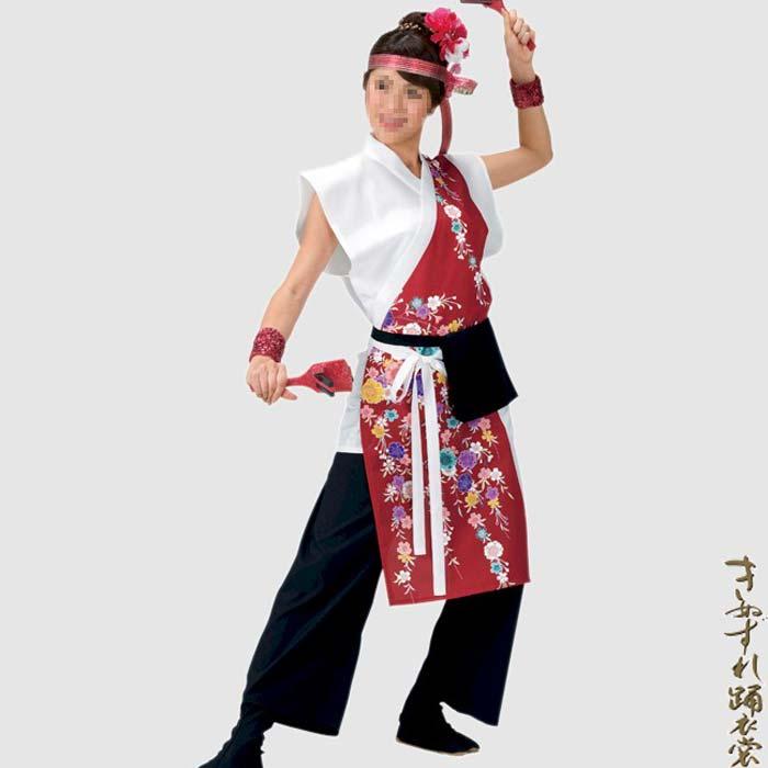 よさこい衣装 新色追加して再販 着物スタイル よさこい 衣装 白 赤 送料込 花柄 コスチューム お取り寄せ商品 衣裳 袖なし k才20058 祭り レディース