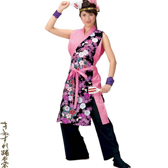 よさこい衣装 ピンクの身頃に華やかな桜柄の袖なし上衣 よさこい 衣装 ピンク 黒 花柄 お取り寄せ商品 レディース オープニング 大放出セール 祭り コスチューム k名20047 衣裳 公式ショップ