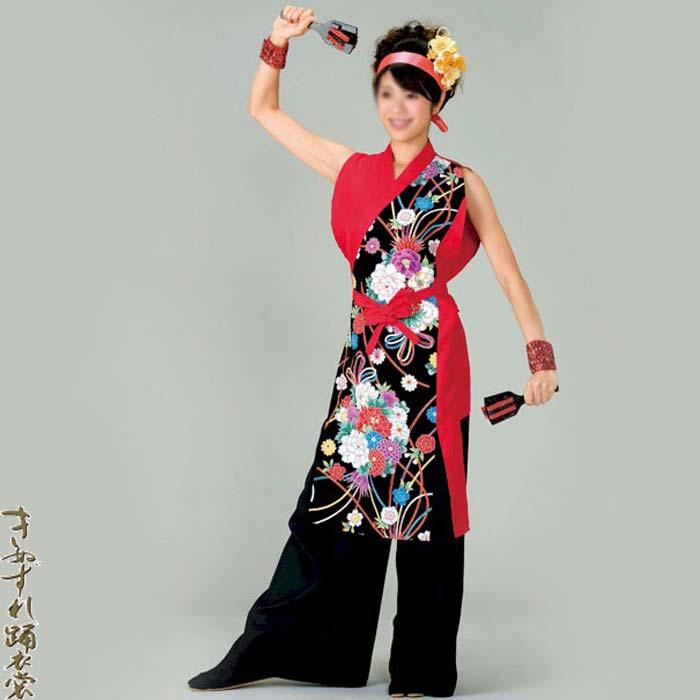よさこい コスチューム レディース (k名73036)袖なし打合せ着物 よさこい衣装 祭り 衣装 衣裳 【お取り寄せ商品】